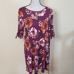 Kaileigh Athene dress brushed knit red floral sz L